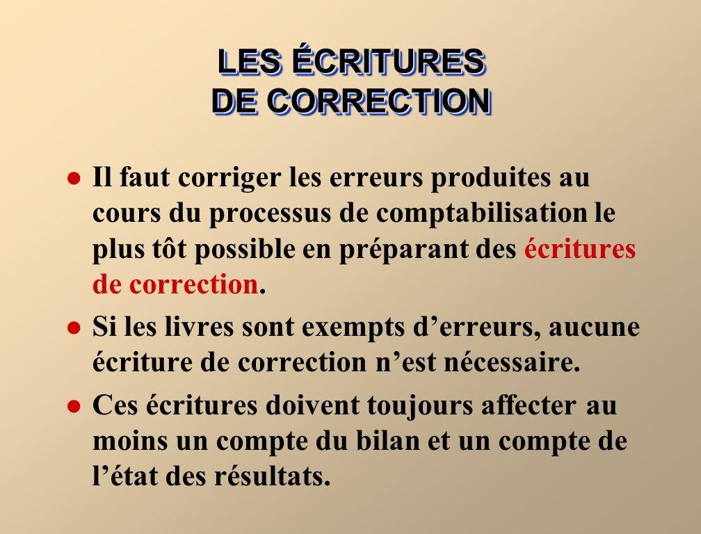 LES ÉCRITURES DE CORRECTION