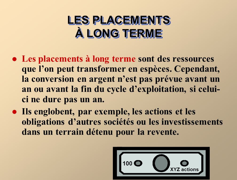 LES PLACEMENTS À LONG TERME