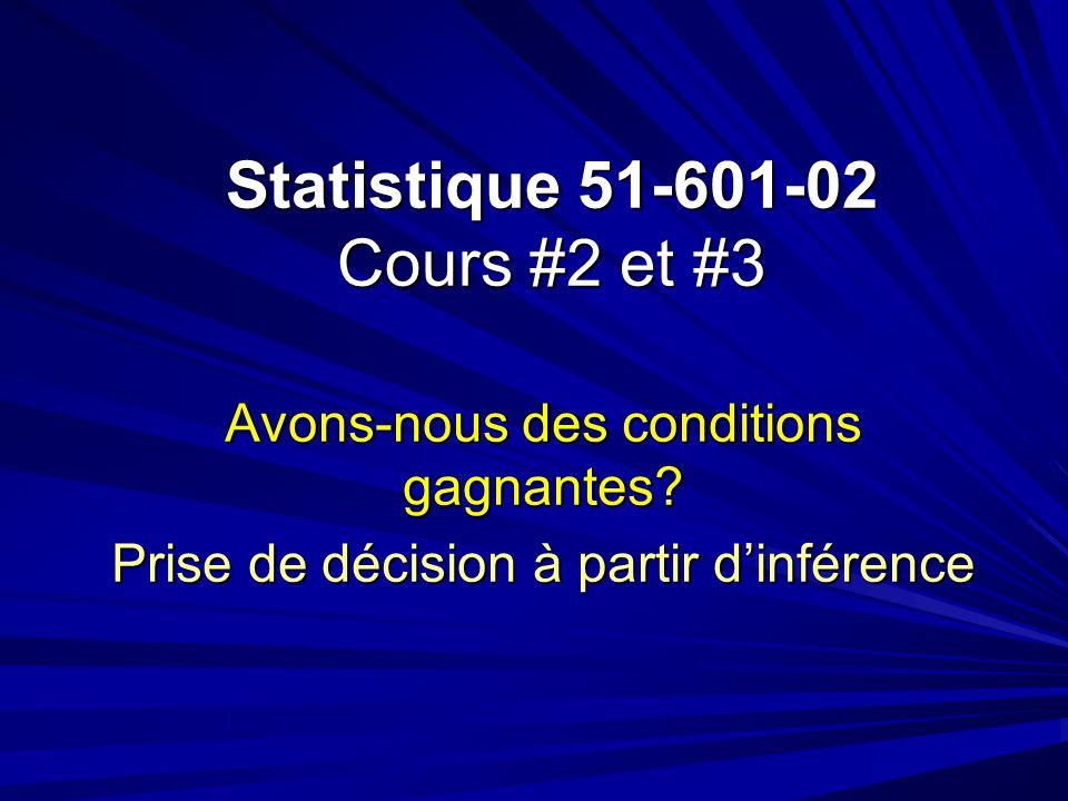 Statistique 51-601-02 Cours #2 et #3