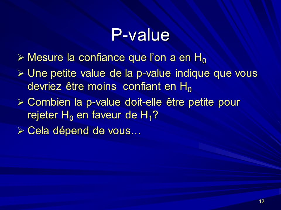 P-value Mesure la confiance que l'on a en H0