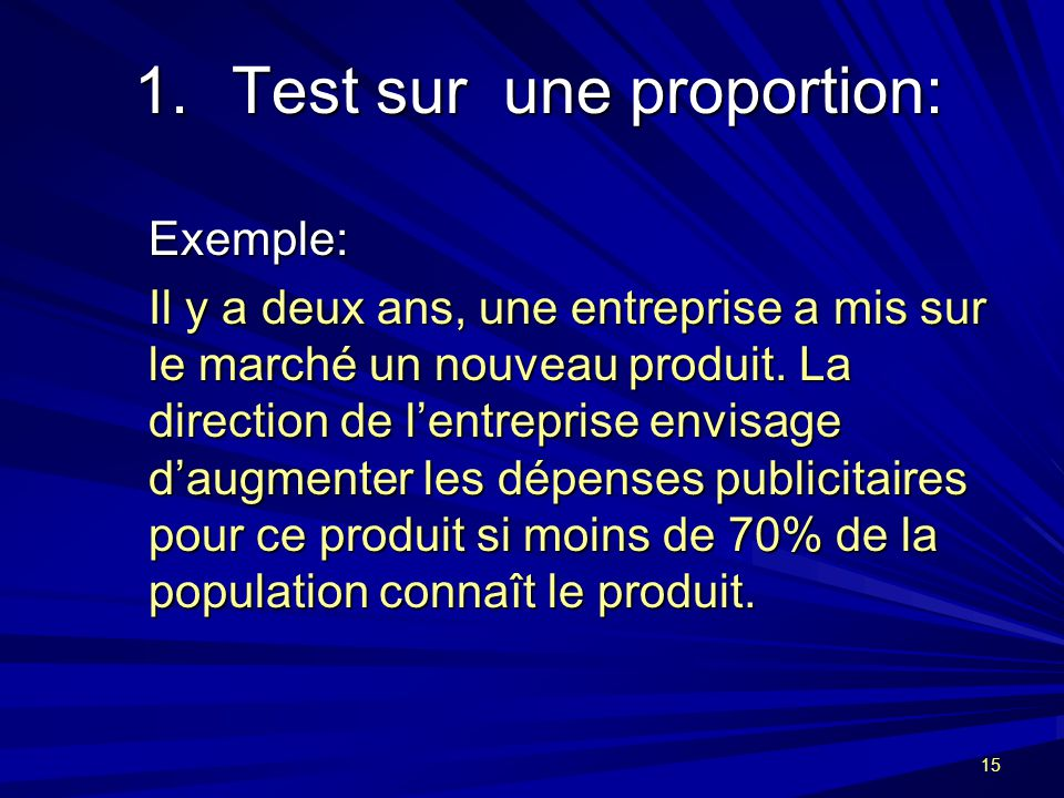 Test sur une proportion: