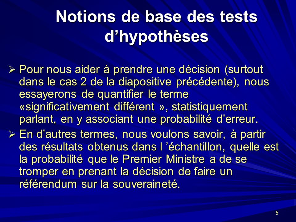 Notions de base des tests d'hypothèses