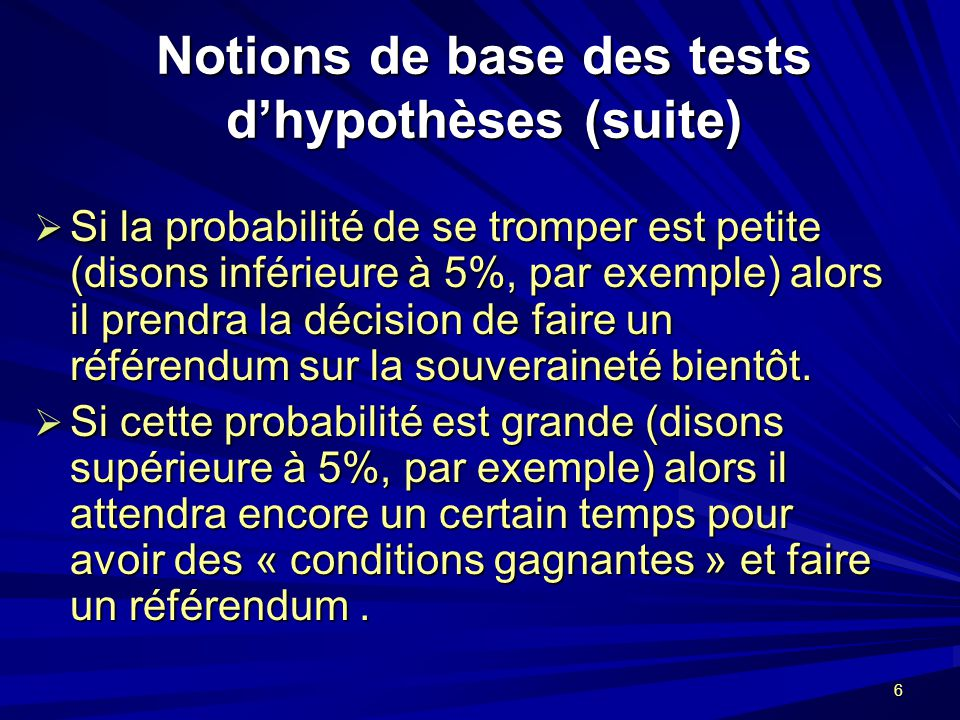 Notions de base des tests d'hypothèses (suite)