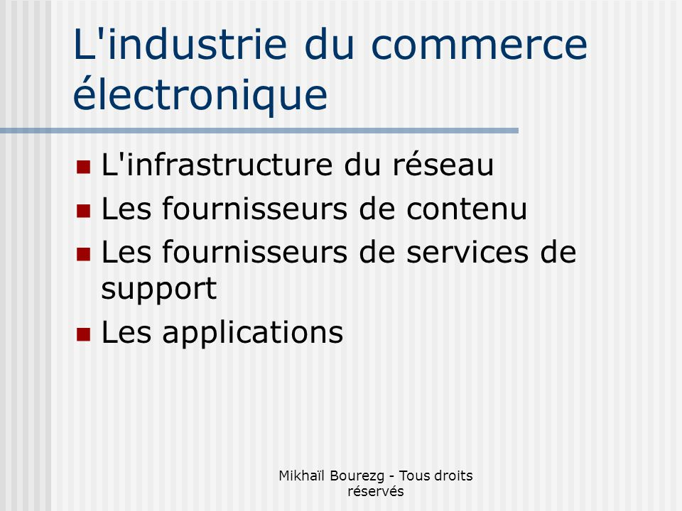 L industrie du commerce électronique