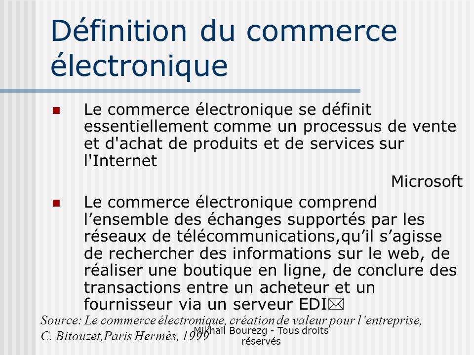 Définition du commerce électronique