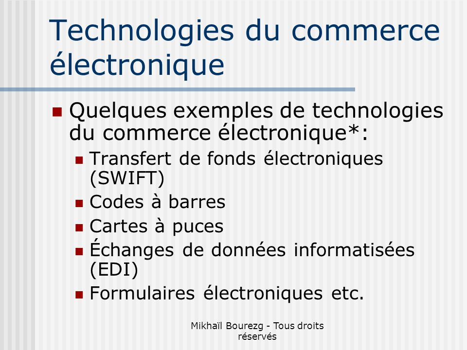 Technologies du commerce électronique