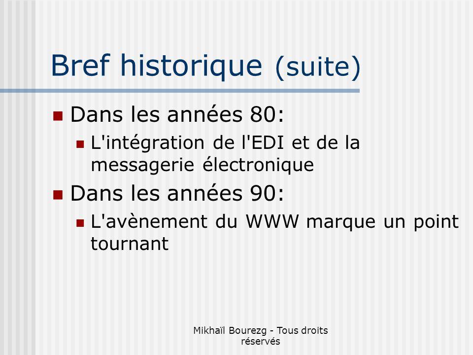 Bref historique (suite)