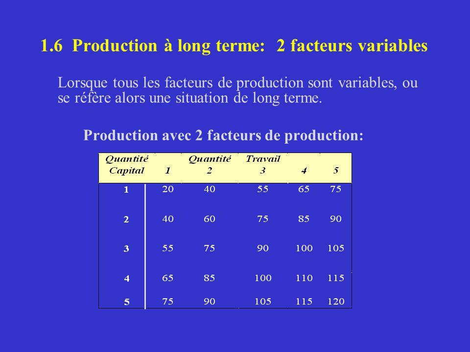 1.6 Production à long terme: 2 facteurs variables