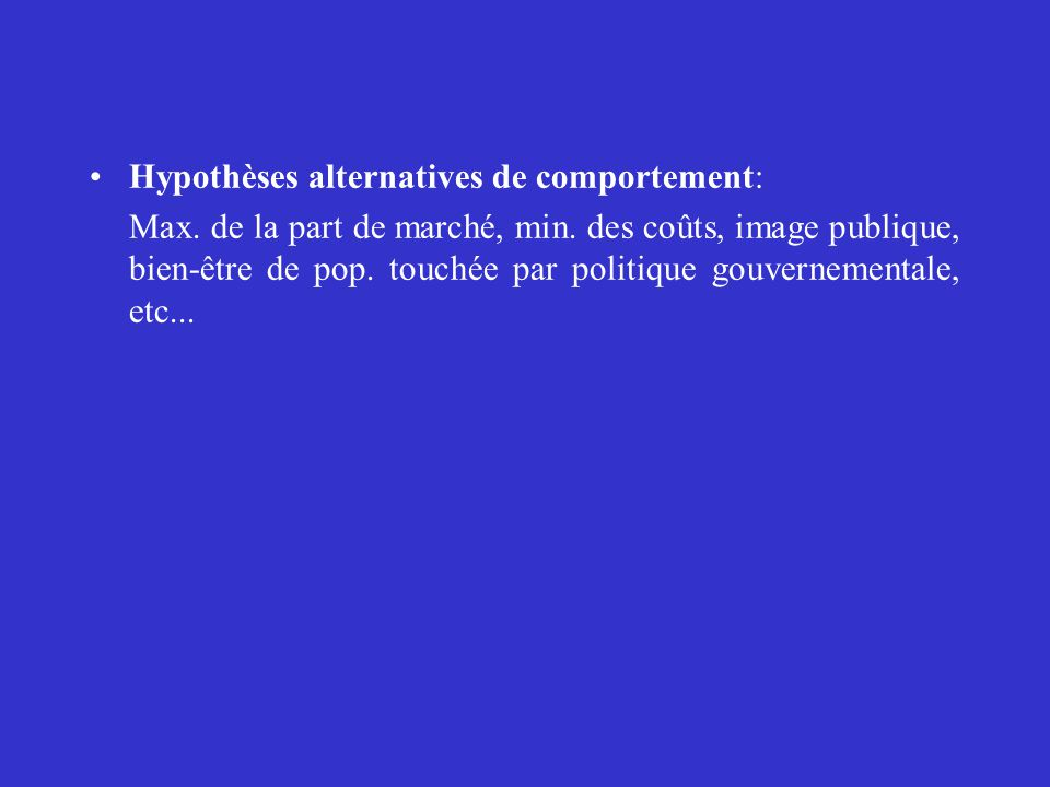 Hypothèses alternatives de comportement: