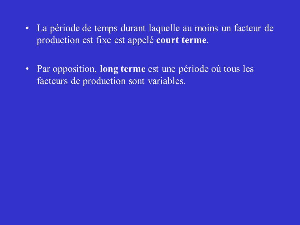 La période de temps durant laquelle au moins un facteur de production est fixe est appelé court terme.