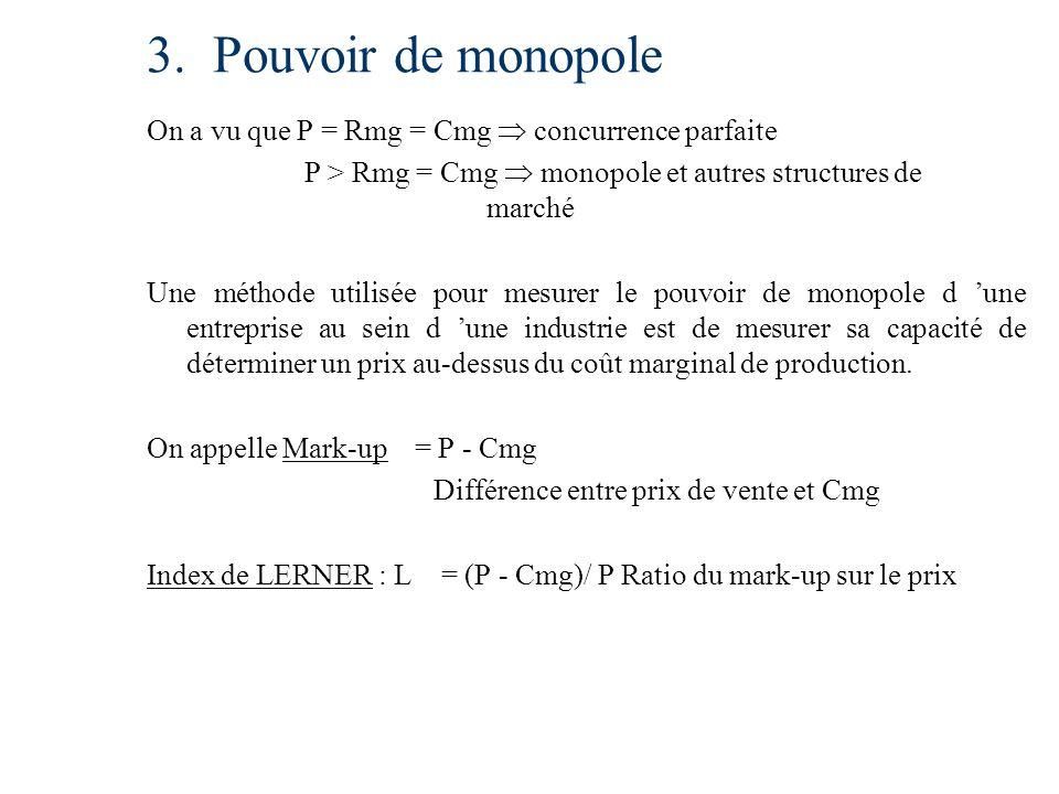 3. Pouvoir de monopole On a vu que P = Rmg = Cmg  concurrence parfaite. P > Rmg = Cmg  monopole et autres structures de marché.