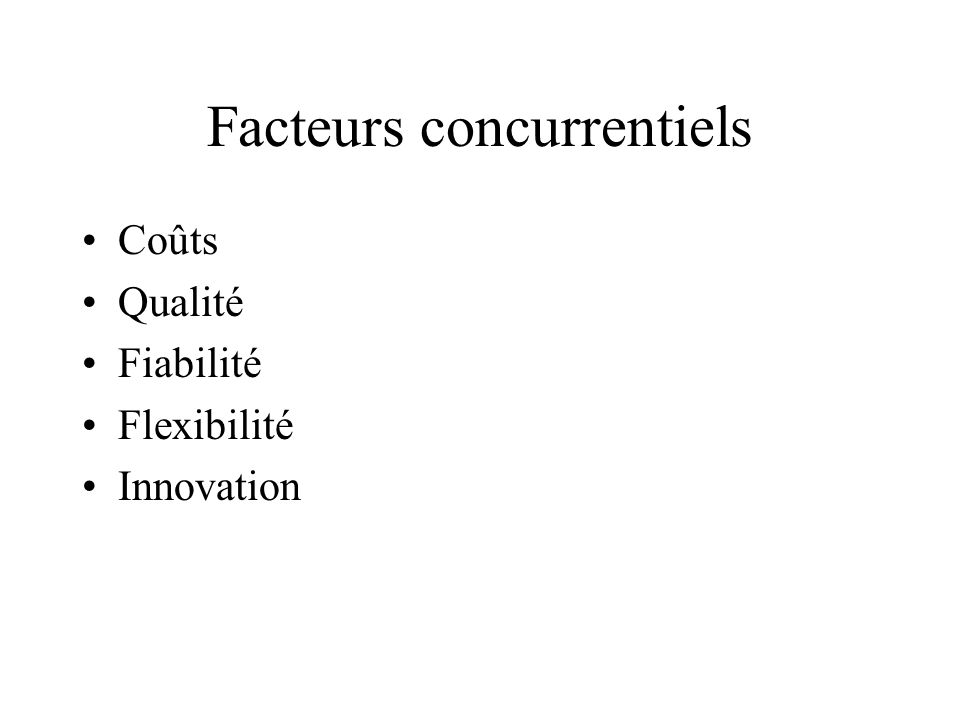Facteurs concurrentiels