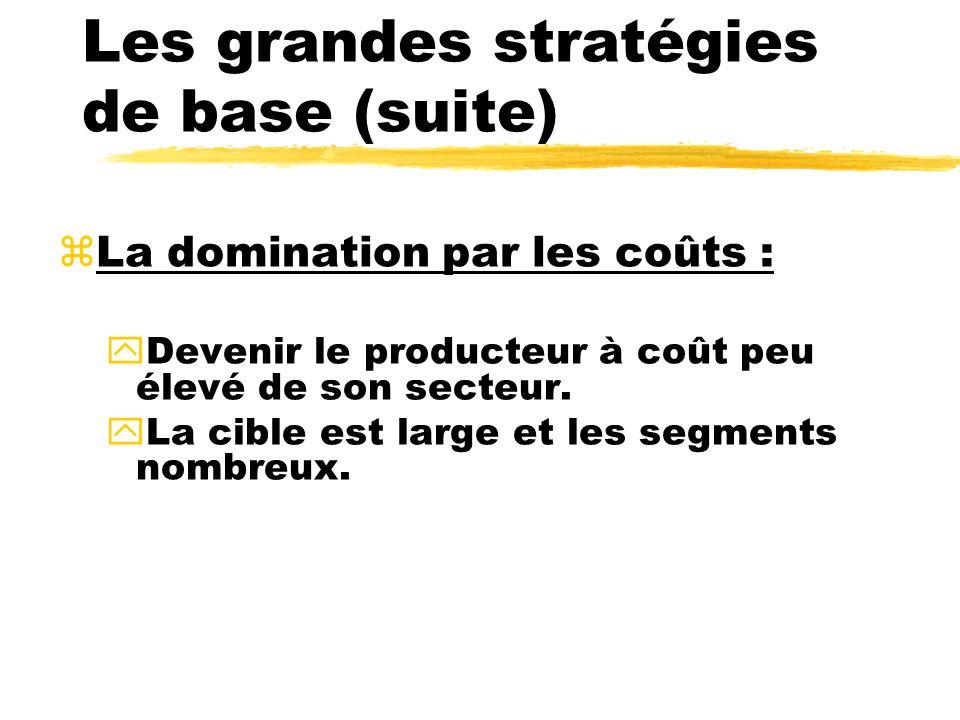 Les grandes stratégies de base (suite)