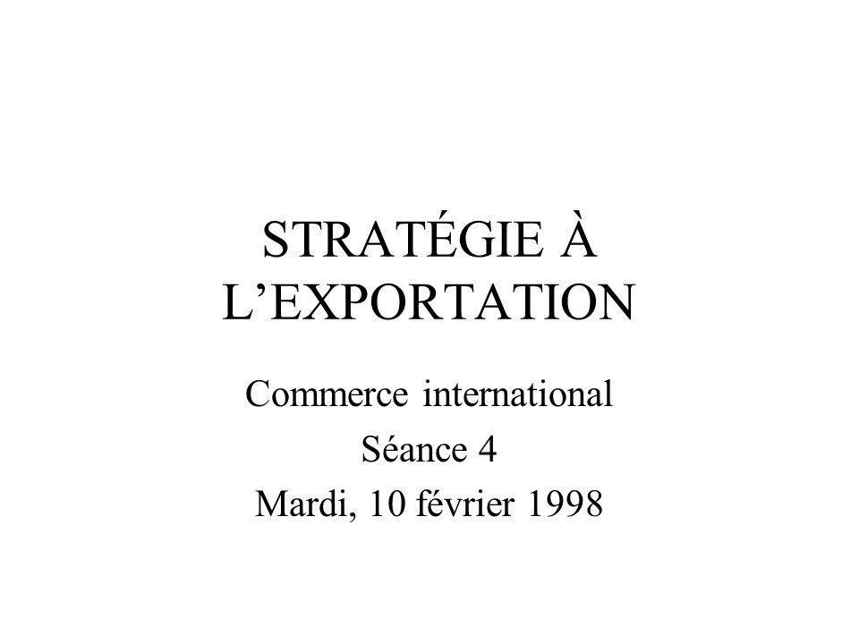 STRATÉGIE À L'EXPORTATION