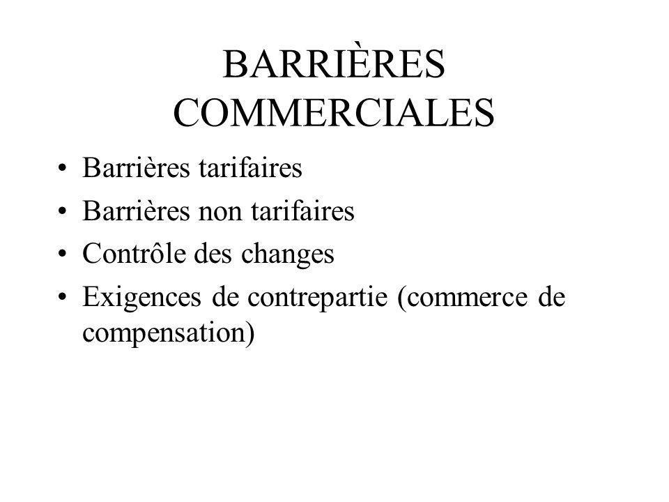 BARRIÈRES COMMERCIALES