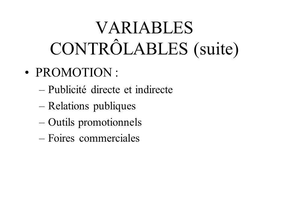 VARIABLES CONTRÔLABLES (suite)
