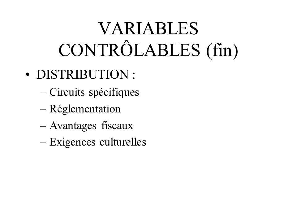 VARIABLES CONTRÔLABLES (fin)