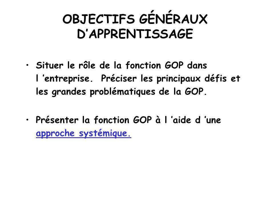 OBJECTIFS GÉNÉRAUX D'APPRENTISSAGE