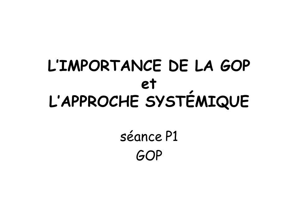 L'IMPORTANCE DE LA GOP et L'APPROCHE SYSTÉMIQUE