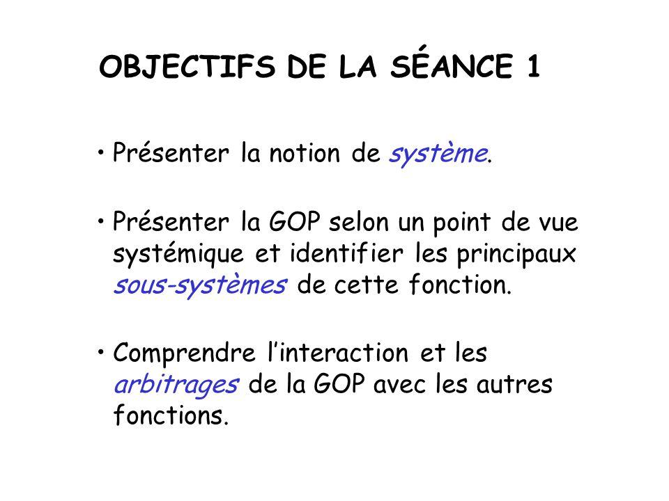 OBJECTIFS DE LA SÉANCE 1 Présenter la notion de système.