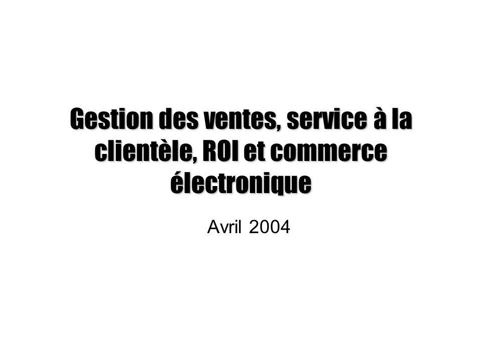 Gestion des ventes, service à la clientèle, ROI et commerce électronique