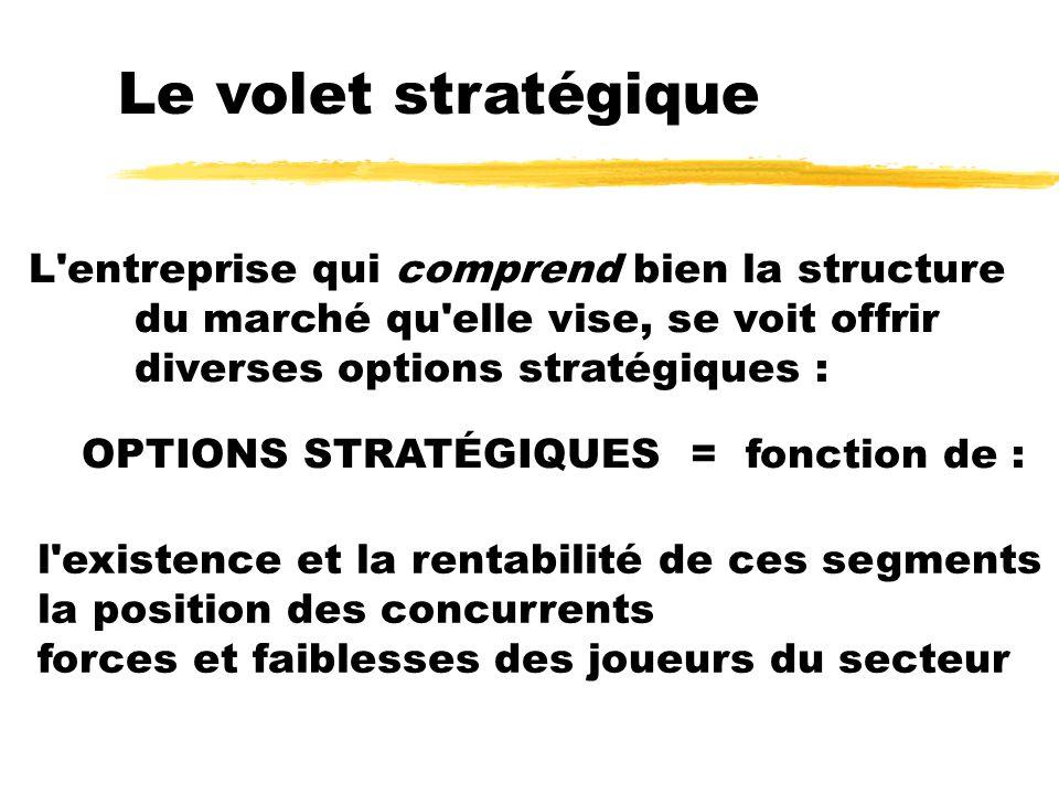Le volet stratégique L entreprise qui comprend bien la structure du marché qu elle vise, se voit offrir diverses options stratégiques :