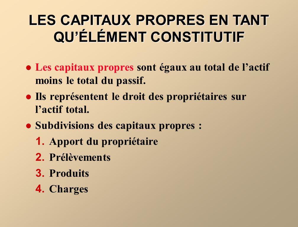 LES CAPITAUX PROPRES EN TANT QU'ÉLÉMENT CONSTITUTIF