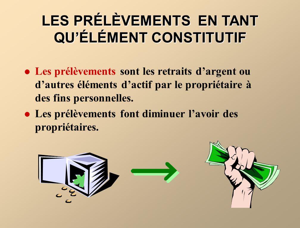 LES PRÉLÈVEMENTS EN TANT QU'ÉLÉMENT CONSTITUTIF