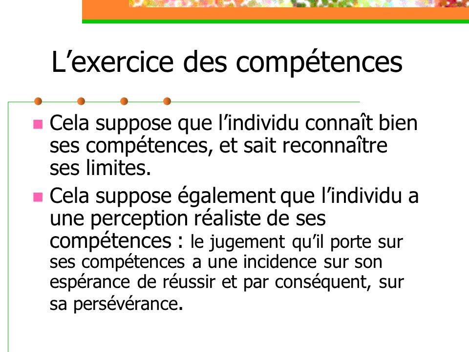 L'exercice des compétences