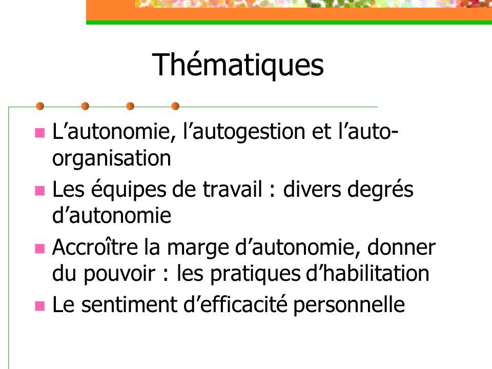 Thématiques L'autonomie, l'autogestion et l'auto-organisation