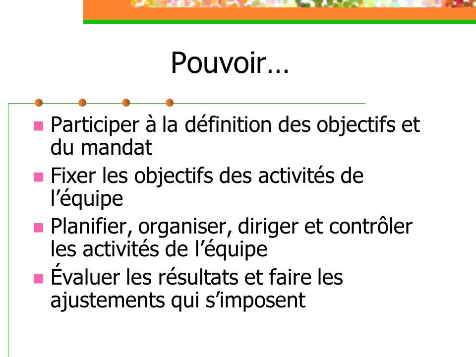 Pouvoir… Participer à la définition des objectifs et du mandat