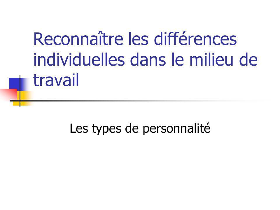 Reconnaître les différences individuelles dans le milieu de travail