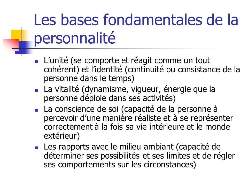 Les bases fondamentales de la personnalité