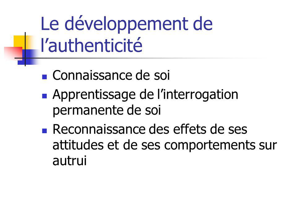 Le développement de l'authenticité