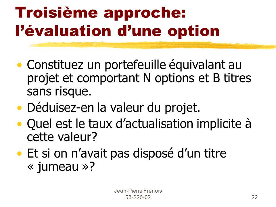 Troisième approche: l'évaluation d'une option