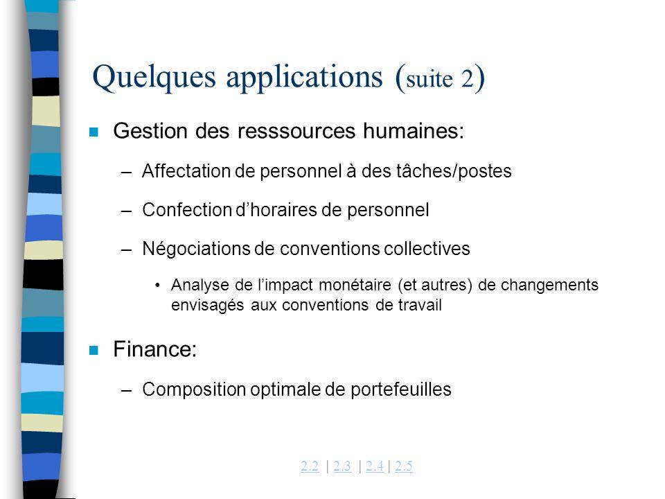 Quelques applications (suite 2)