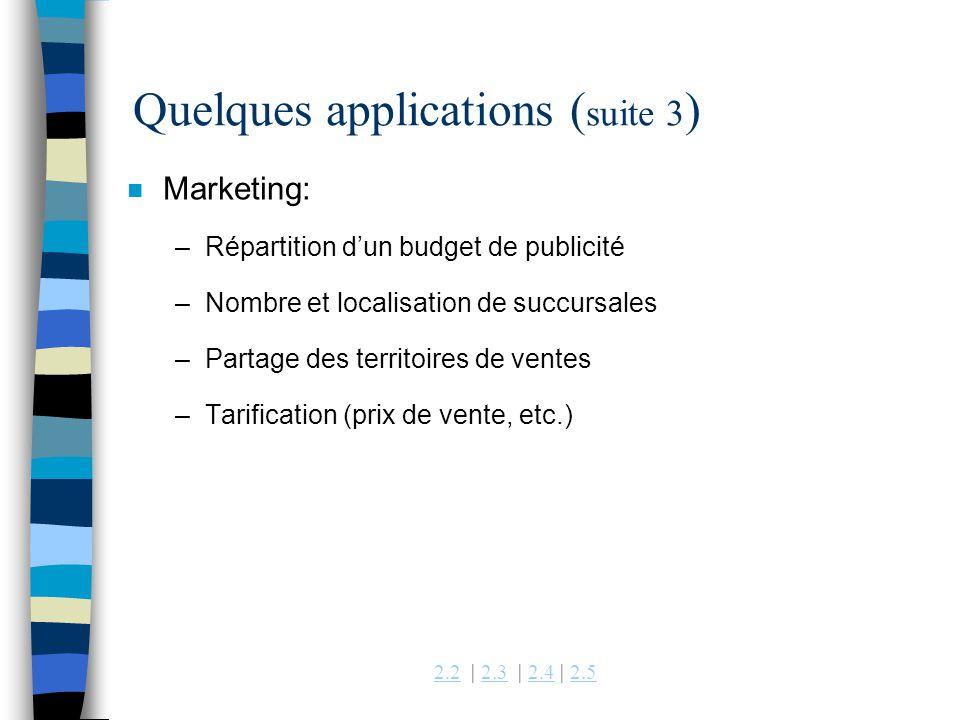 Quelques applications (suite 3)