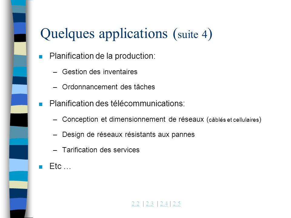 Quelques applications (suite 4)