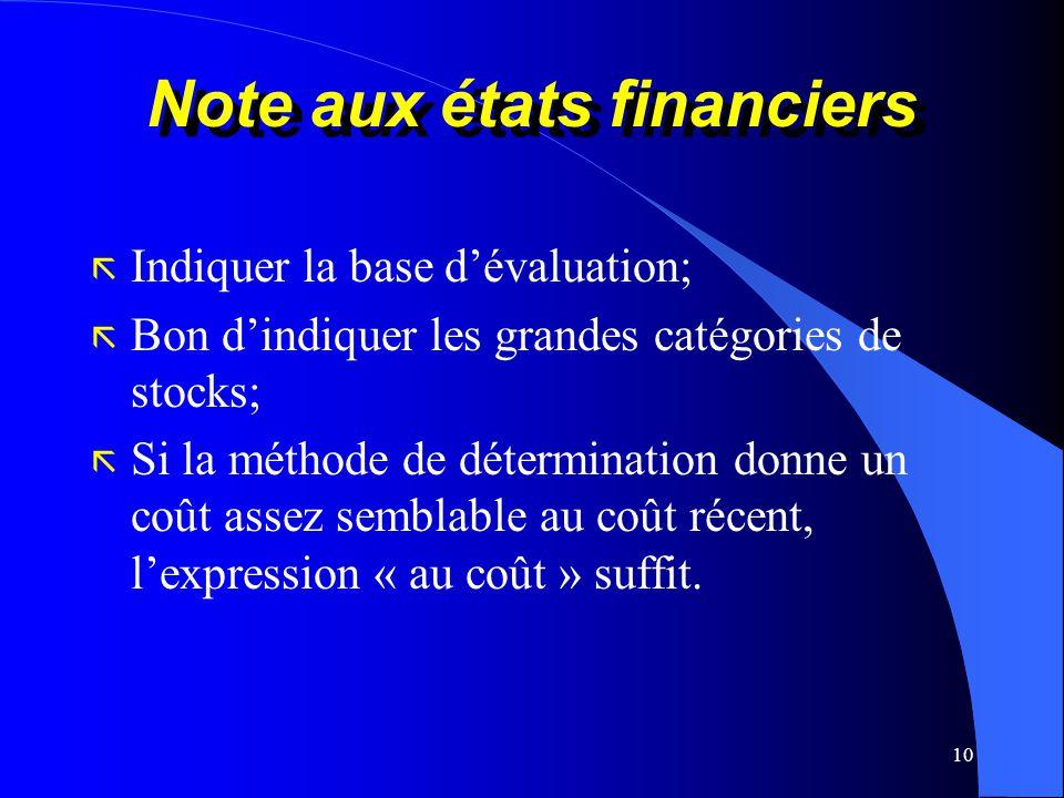 Note aux états financiers