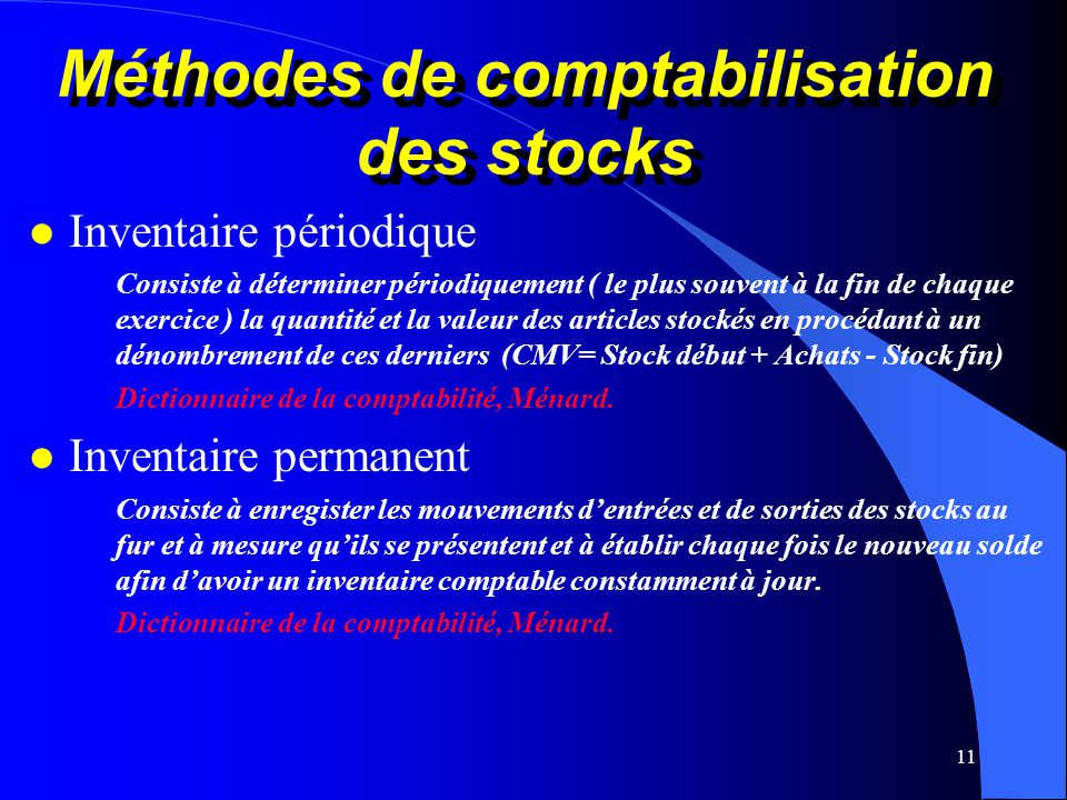 Méthodes de comptabilisation des stocks