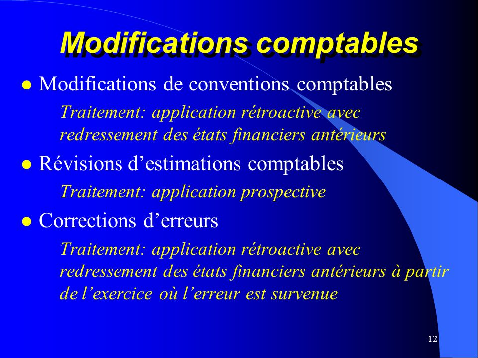 Modifications comptables