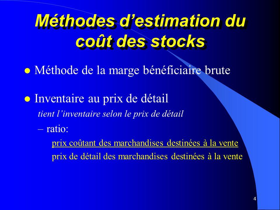Méthodes d'estimation du coût des stocks
