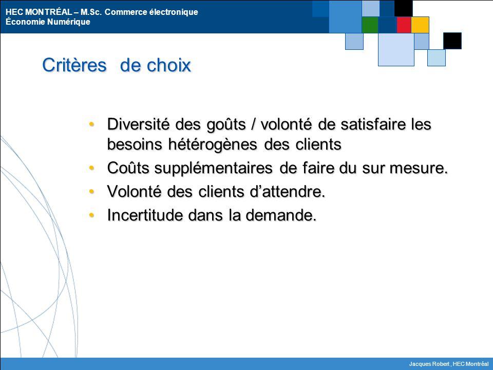 Critères de choix Diversité des goûts / volonté de satisfaire les besoins hétérogènes des clients.