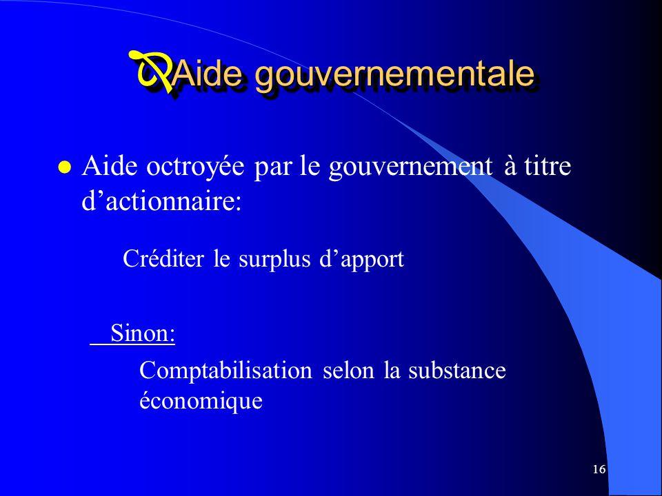Aide gouvernementale Aide octroyée par le gouvernement à titre d'actionnaire: Créditer le surplus d'apport.