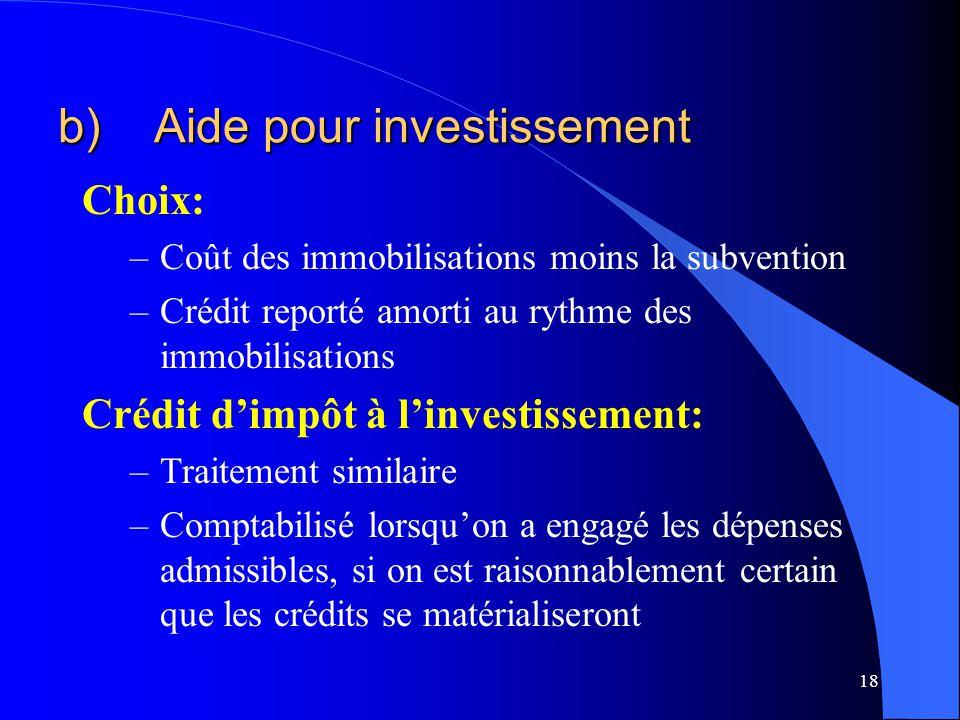 b) Aide pour investissement