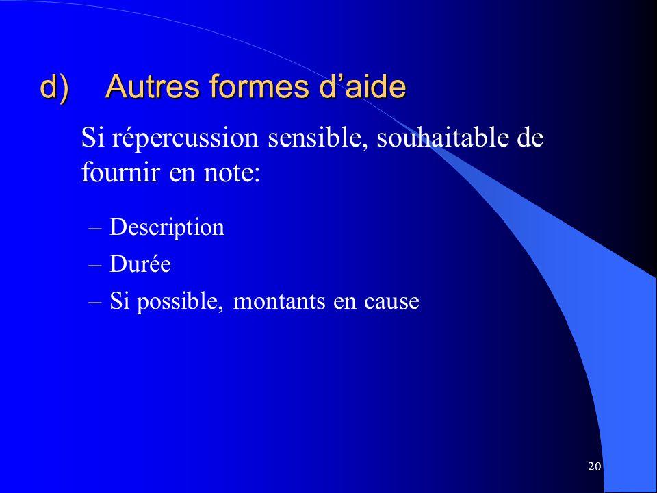 d) Autres formes d'aide