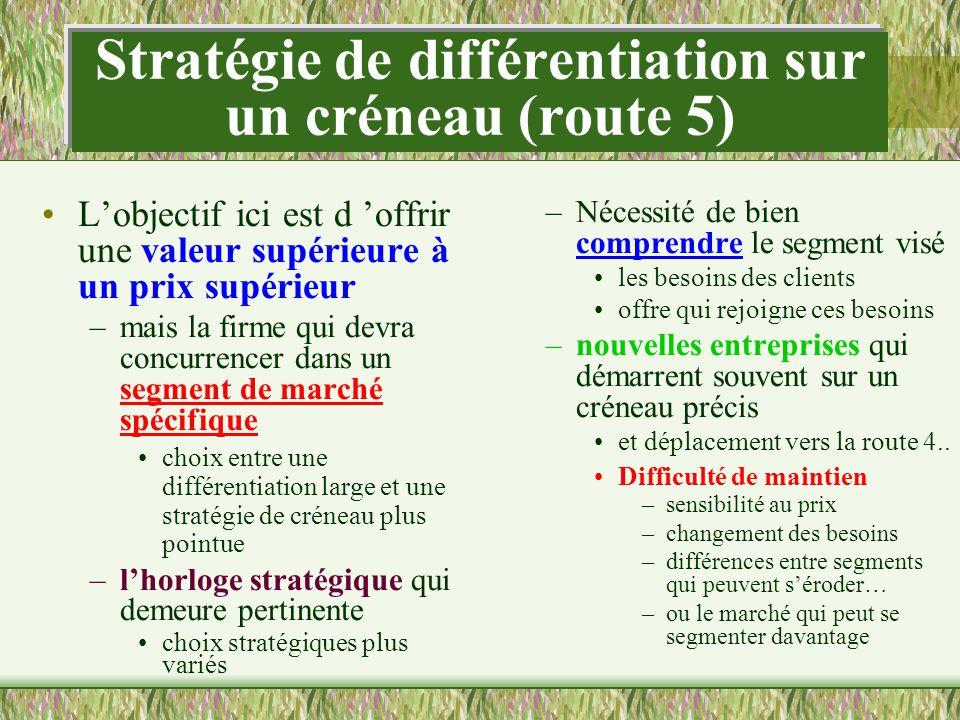 Stratégie de différentiation sur un créneau (route 5)