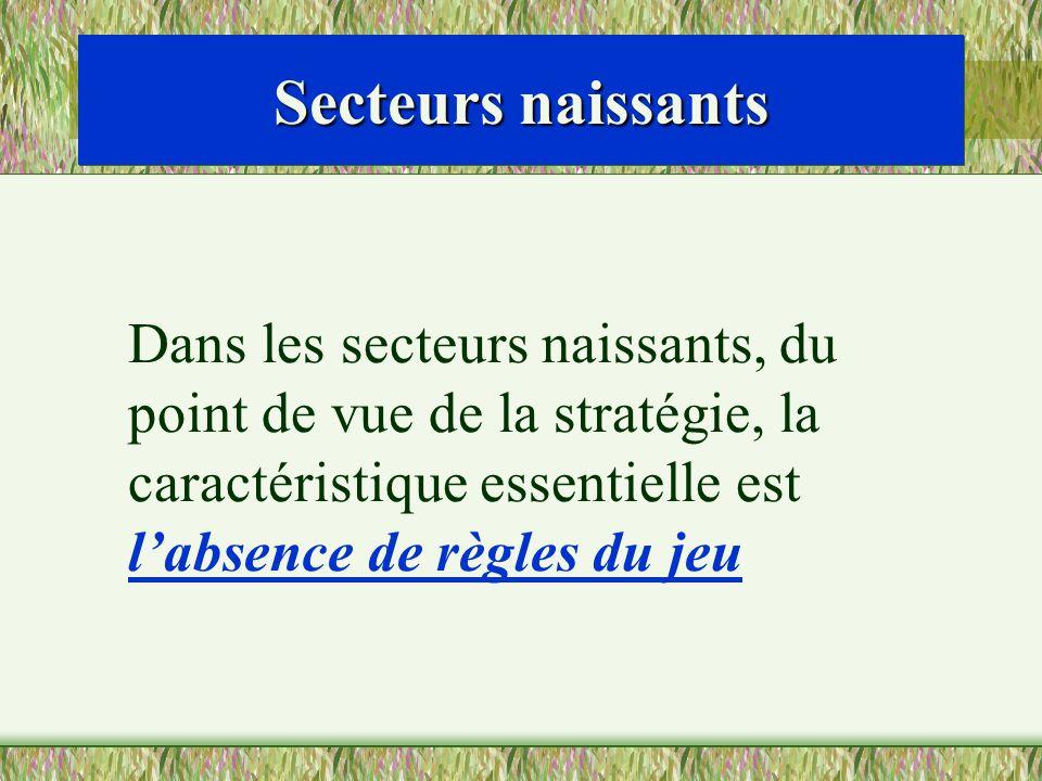 Secteurs naissants Dans les secteurs naissants, du point de vue de la stratégie, la caractéristique essentielle est l'absence de règles du jeu.
