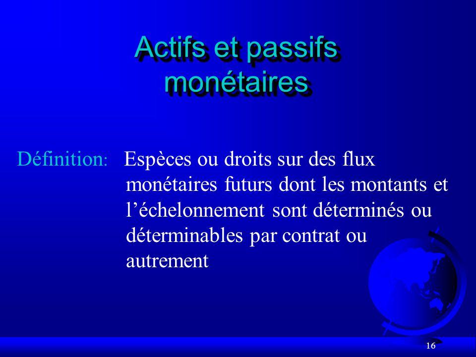 Actifs et passifs monétaires