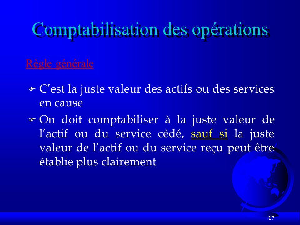 Comptabilisation des opérations